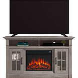 Fireplace TV Credenza with Glass Doors 427376