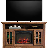 Fireplace TV Credenza with Glass Doors 427377