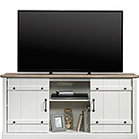 White Farmhouse TV Stand with Oak Accent 427551