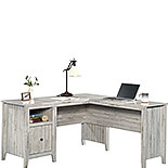 Rustic L-Shaped Desk in White Plank 427566