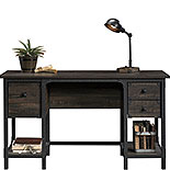 Small Computer Desk in Rustic Carbon Oak 427652