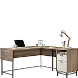 Oak Finish L-Shaped Desk with White Accents 427707