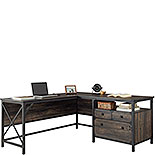 Wood and Metal L-Desk with Drawers 427855