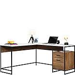 Modern L-Shaped Desk with Storage & White Top 427968