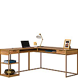Modern L-Shaped Desk with Gold Frame 428210