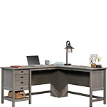 Wood L-Shaped Desk in Mystic Oak Finish 428224