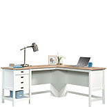 White L-Shaped Desk with Oak Finished Top 428225