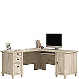 Chalk Oak L-Shaped Desk with Cord Management 428243