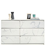 Chic 6-Drawer Dresser with Marble Finish 428250