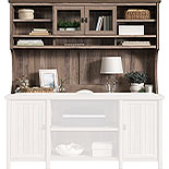 Washed Walnut Home Office Hutch with Shelves 428725