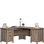 Washed Walnut L-Shaped Desk with File Drawer 428728