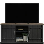 Black Farmhouse TV Stand with Oak Accent 429346
