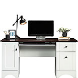 White Home Office Desk with Cherry Accent Top 429449
