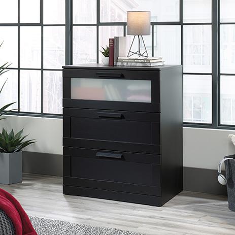 Sauder Select Modern 3 Drawer Dresser Black 420747 Sauder Sauder Woodworking