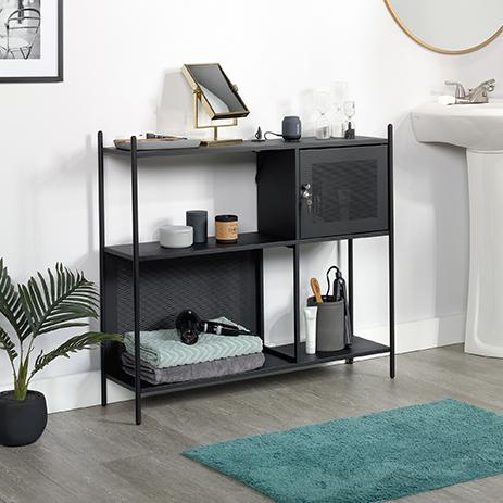 Boulevard Cafe Metal Storage Cabinet In Black 421568 Sauder
