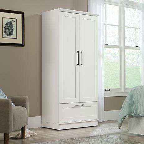 Home Plus White Wardrobe Storage Cabinet 423144 Sauder