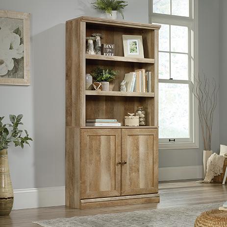 Sauder Select 5 Shelf Bookcase With Doors Lintel Oak 426413 Sauder Sauder Woodworking