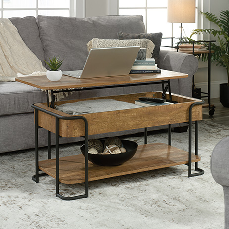 Station House Lift Top Coffee Table Etched Oak 426434 Sauder Sauder Woodworking