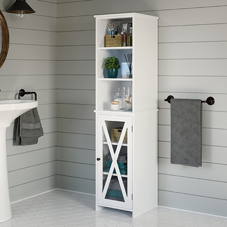 Cottage Road Linen Cabinet Tower White, Bathroom Storage Tower