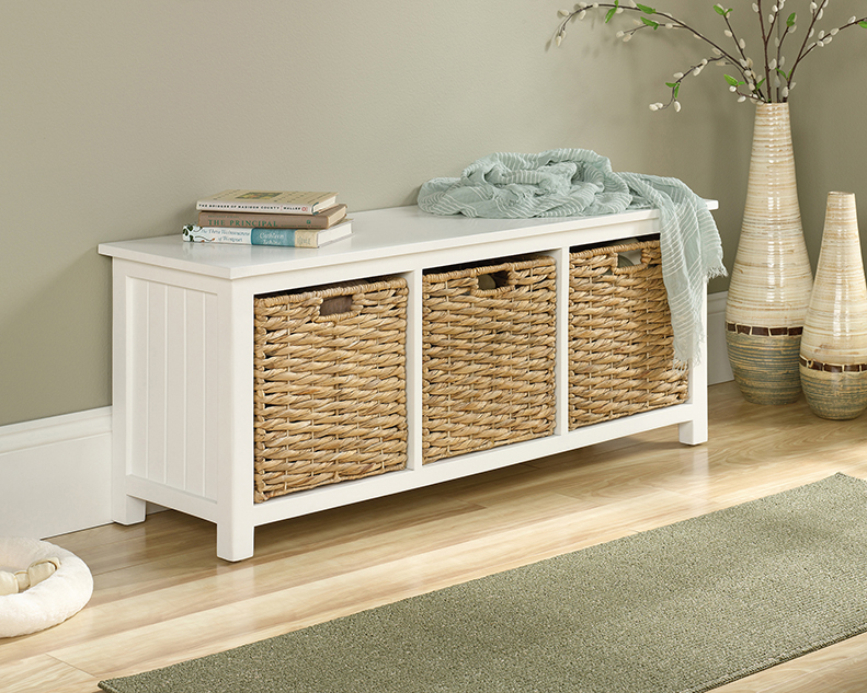 Swell Cottage Road Bench With Wicker Basket Storage 422754 Short Links Chair Design For Home Short Linksinfo